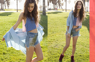 shorts nastygal nastygal.com shopnastygal.com lookbook star struck star struck lookbook americana american flag american flag crop top crop tops minkpink unif denim shorts cut off shorts t-shirt shirt