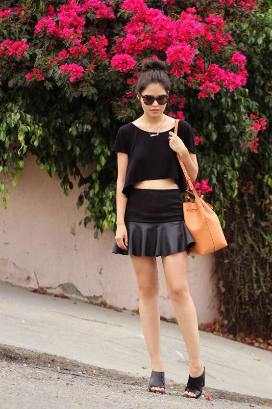 Little black faux leather frill skirt