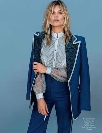 blouse texture blazer kate moss editorial blue tailoring
