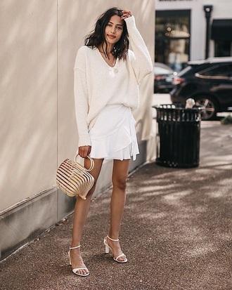skirt mini skirt white skirt wrap skirt sweater white sweater sandals sandal heels all white everything