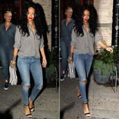 jeans,shoes,shirt,rihanna,sandals