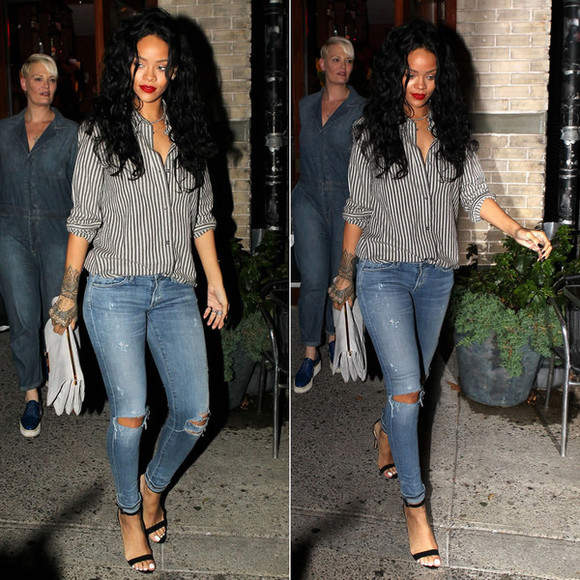 jeans shirt shoes rihanna sandals