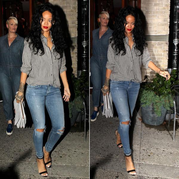 jeans shoes shirt rihanna sandals