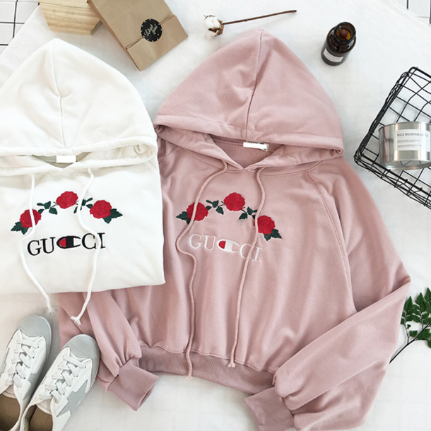 sweater trendy floral roses fashion style hoodie gucci girly