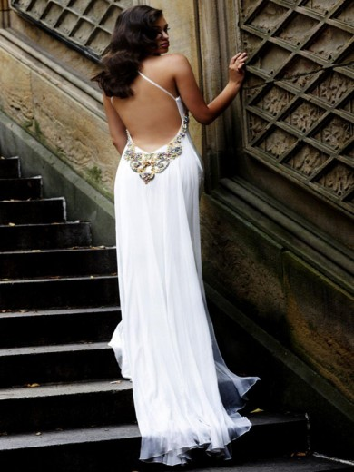 Gorgeous Sexy Column V-Neck Backless Jeweled Long White Lace Evening Dresses ED-2117