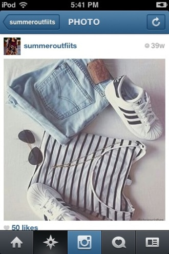 shorts acid washed shorts stripped crop top aviator sunglasses