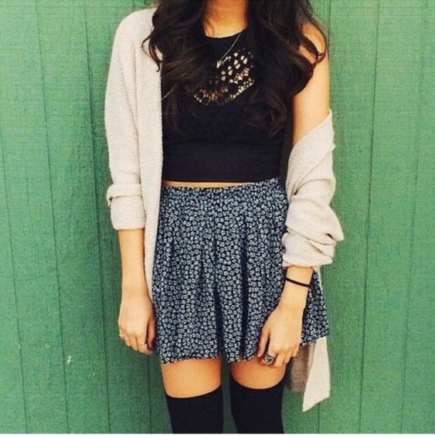 cardigan skirt top