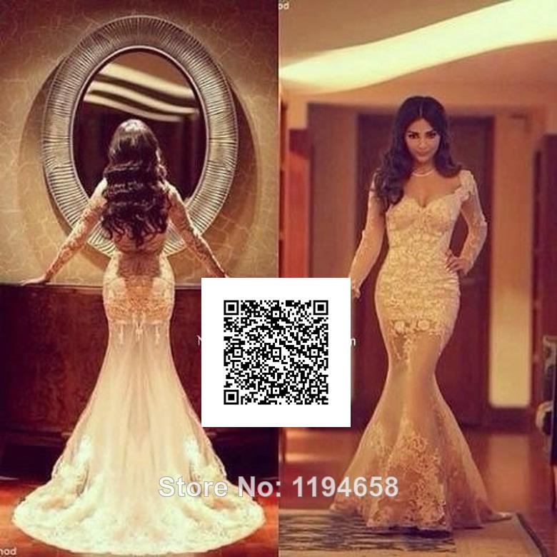 2014 sexy sirena de champán de encaje bordado vestido de fiesta novia noche manga larga vestido de envío