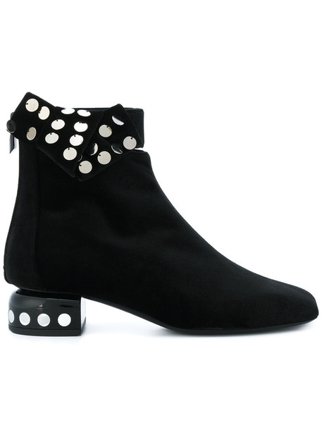 women leather black velvet shoes