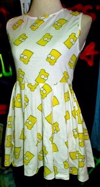 dress bart simpson babydoll dress yellow cartoon clothes the simpsons