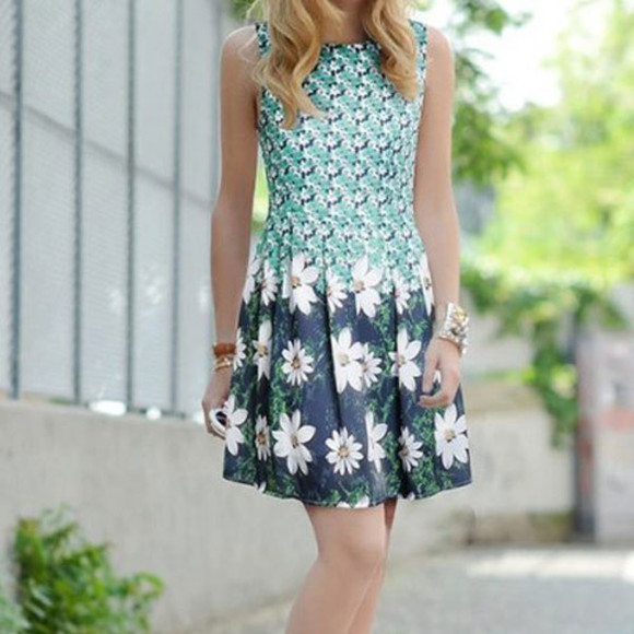 flowers flowered shorts dress cute dress sweetheart dresses blue dress green dress floral high-low dresses hippie hipster