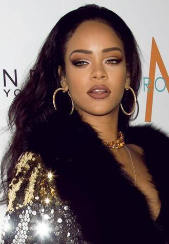 make-up rihanna lipstick sequins coat flashes of style flawless