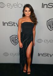 dress,strapless,black dress,slit dress,lea michele,Golden Globes 2018,sandals