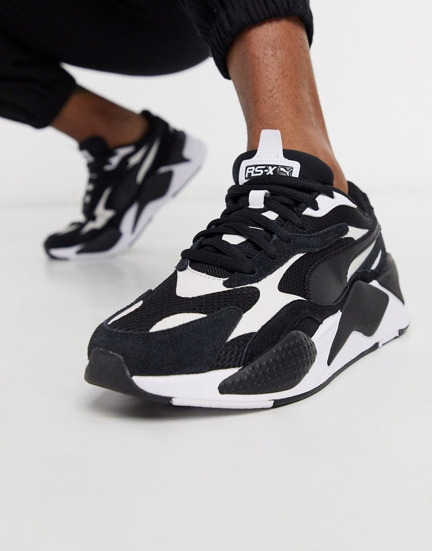 Puma RS-X sneakers in black and white-Green