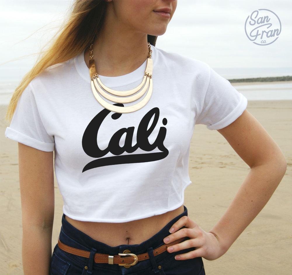 * CALI California Retro Summer Crop Tank Top T-shirt ...