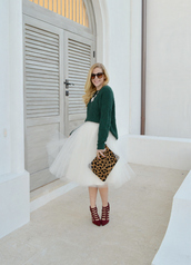 fash boulevard,blogger,jewels,forest green,leopard print,pouch,burgundy,strappy sandals,tulle skirt,caged sandals,red shoes,green sweater,animal print,brown sunglasses,white skirt,midi skirt