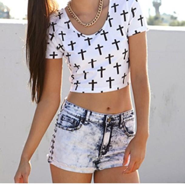 t-shirt cross t-shirt denim shorts denim shorts fashion photos love cool dress clothes pants