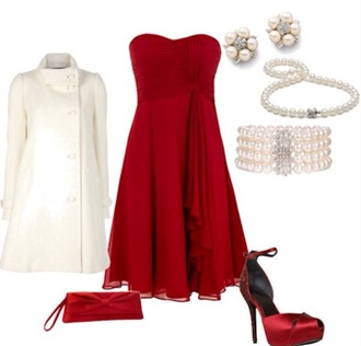 dress red strapless cute