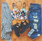 top,jeans,ripped,denim,shoes,black shoes,cardigan,bralette,boyfriend jeans,ripped jeans,boots,tank top