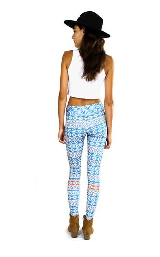 leggings blue aztec leggings