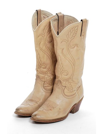 Brick Vintage. Vintage Acme Beige Cowboy Boots 6