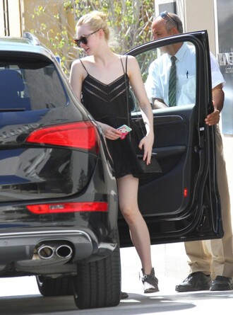 dress elle fanning black dress black ankle boots