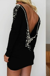 dress,clothes,backless,pearl,black,white