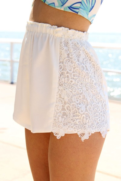 White Shorts - White Shorts with Crochet Sides | UsTrendy