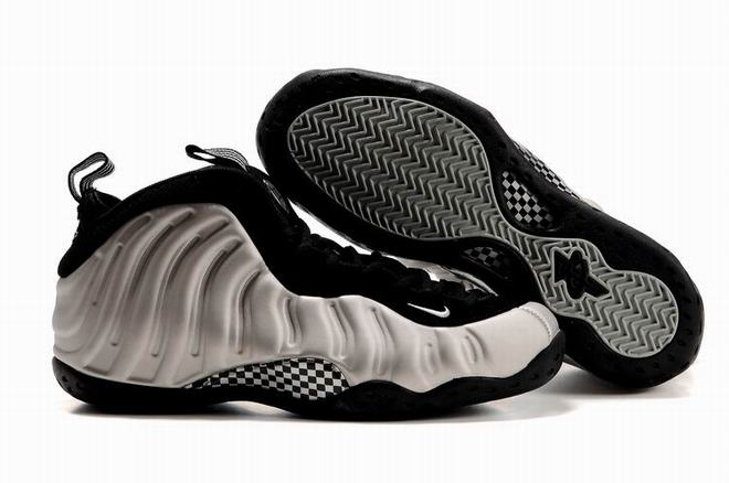 foamposite one metallic silver and black shoes