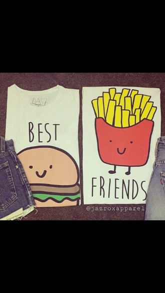 shirt hamburger fries bff fashion