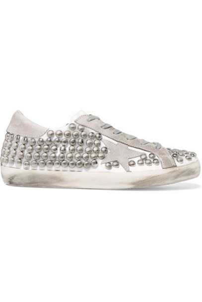suede sneakers studded sneakers leather white suede shoes