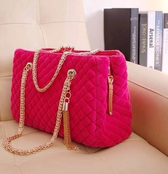 bag chain imitat chanel inspired chanel quilted quilted bag gold chain hot pink