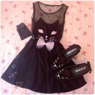 dress black dress with cat face clothes black pink cats heart cute