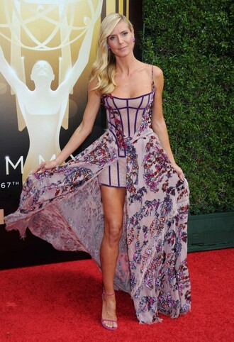 dress bustier bustier dress heidi klum gown prom dress slit dress floral dress shoes sandals