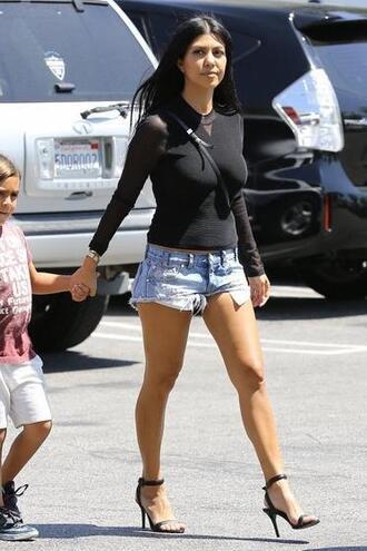 top shorts sandals kourtney kardashian denim shorts shoes