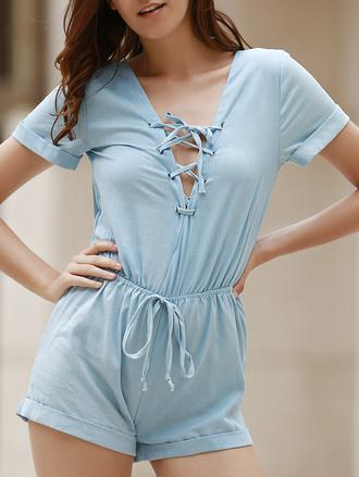romper blue summer casual lace up light blue cute spring zaful