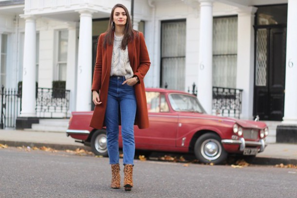 6d5878f39fcf peexo blogger jacket sweater jeans shoes knitwear rust fall outfits ankle  boots cable knit mom jeans