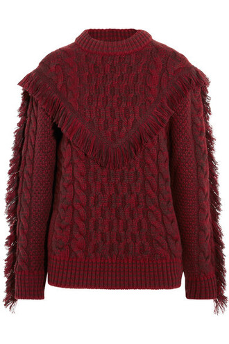 sweater knit red