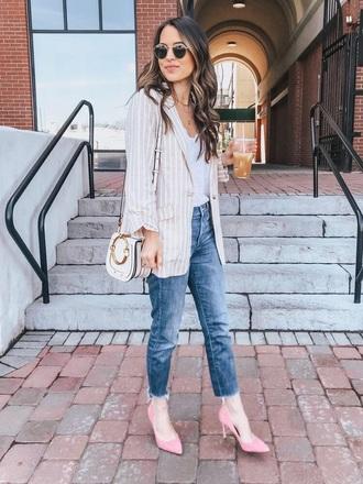 jacket blazer striped blazer stripes top white top denim blue jeans sunglasses pumps jeans