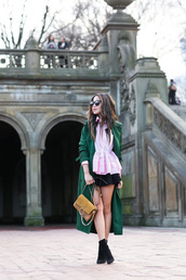 wendy's,lookbook,blogger,top,coat,skirt,bag,shoes,jewels,sunglasses,green coat,winter outfits,long coat,pink blouse,ankle boots