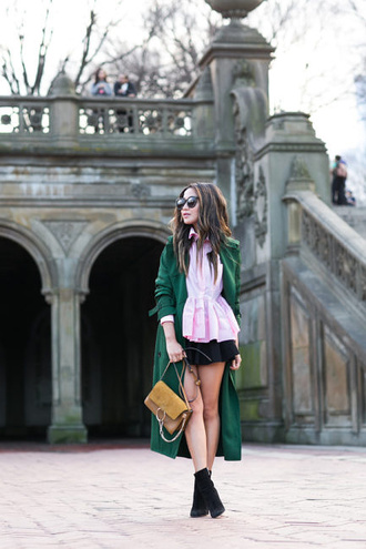 wendy's lookbook blogger top coat skirt bag shoes jewels sunglasses green coat winter outfits long coat pink blouse ankle boots