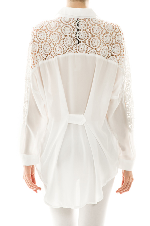 Terracina Lace High Low Blouse - Mimi Boutique