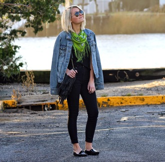 platinum and penniless blogger scarf bag jewels loafers black jeans denim jacket
