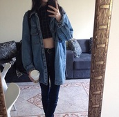 jacket,coat,denim jacket,tumblr outfit,grunge jean jacket,jeans,blue,tumblr,grunge,shirt,black and white,white,black,checkered,cardigan,top,denim,and,crop tops