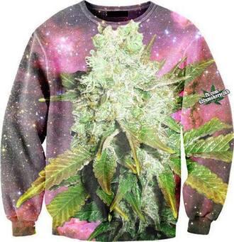 sweater clothes weed marijuana jumper universe bud stars purple shirt marihuana psychadelic stoner