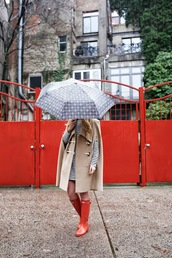 atlantic pacific,blogger,camel coat,winter coat,cape,winter outfits,umbrella,wellies,striped dress,coat,dress,shoes