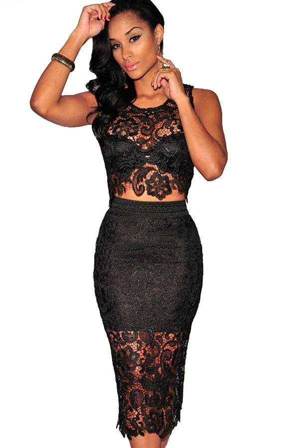 Black Lace Sleeveless Sexy Bodycon Party Dress