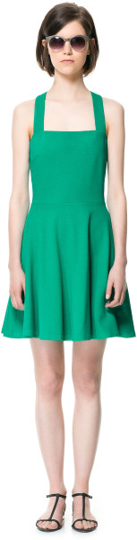 Zara Flared Strappy Dress in Green | Lyst
