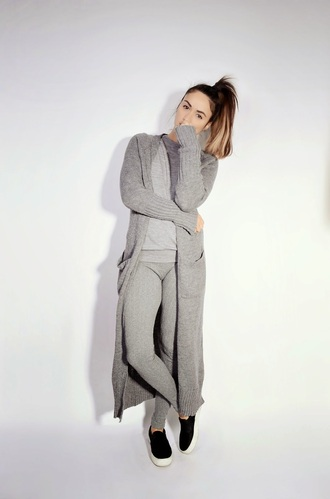 quality rivets blogger cardigan leggings grey grey sweatpants vans comfy