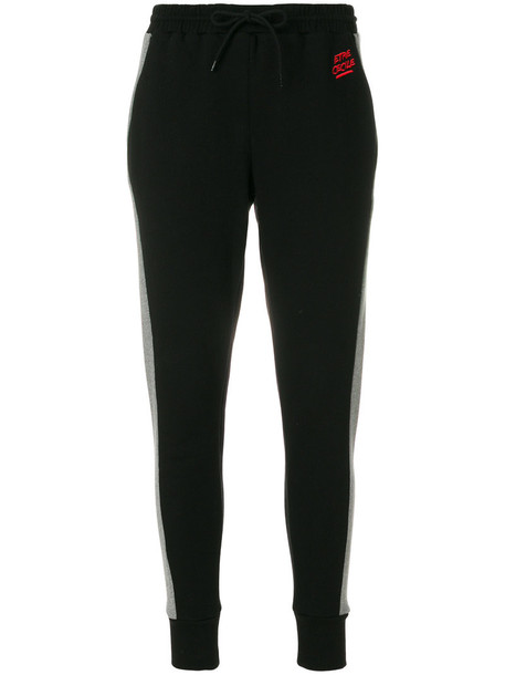 pants track pants embroidered women cotton black